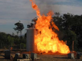 steel tank undergoing a fire immersion test