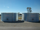 Poly-lined steel tanks installed as designated fire fighting tanks, useful in bush fires.